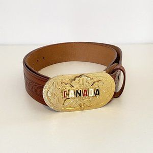 Vintage Tooled Leather Belt with Removable Buckle